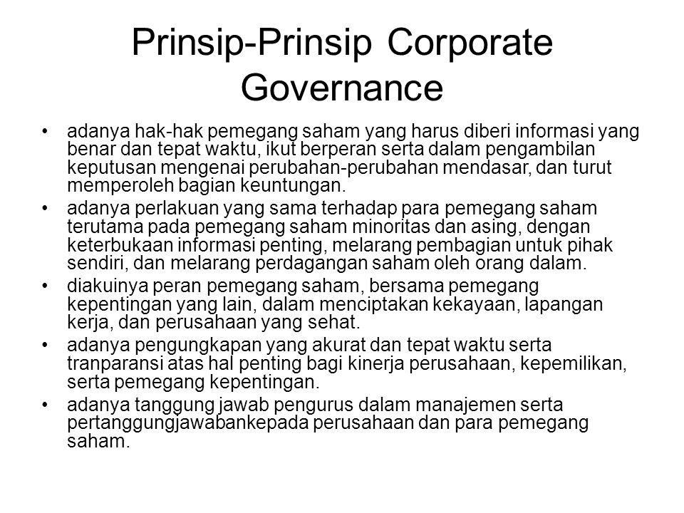 Prinsip-Prinsip Corporate Governance adanya hak-hak pemegang saham yang harus diberi informasi yang benar dan tepat waktu, ikut berperan serta dalam p