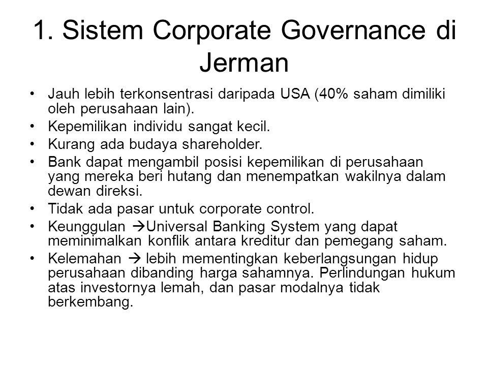 1. Sistem Corporate Governance di Jerman Jauh lebih terkonsentrasi daripada USA (40% saham dimiliki oleh perusahaan lain). Kepemilikan individu sangat