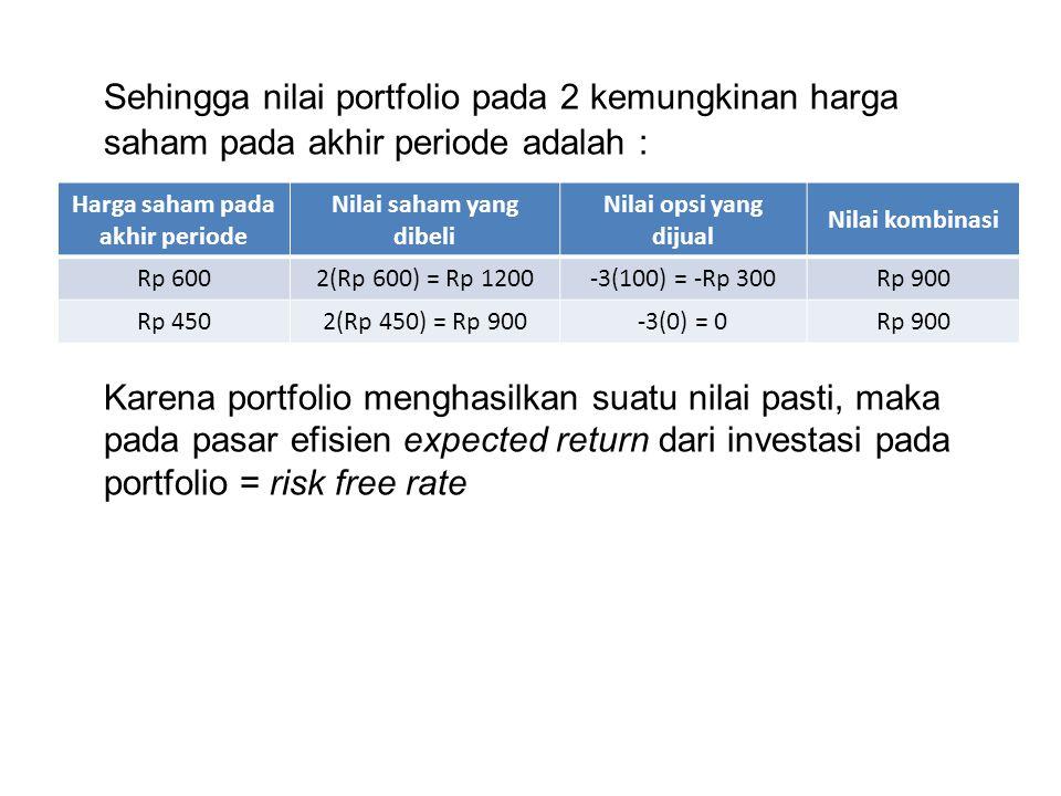 Sehingga nilai portfolio pada 2 kemungkinan harga saham pada akhir periode adalah : Karena portfolio menghasilkan suatu nilai pasti, maka pada pasar e
