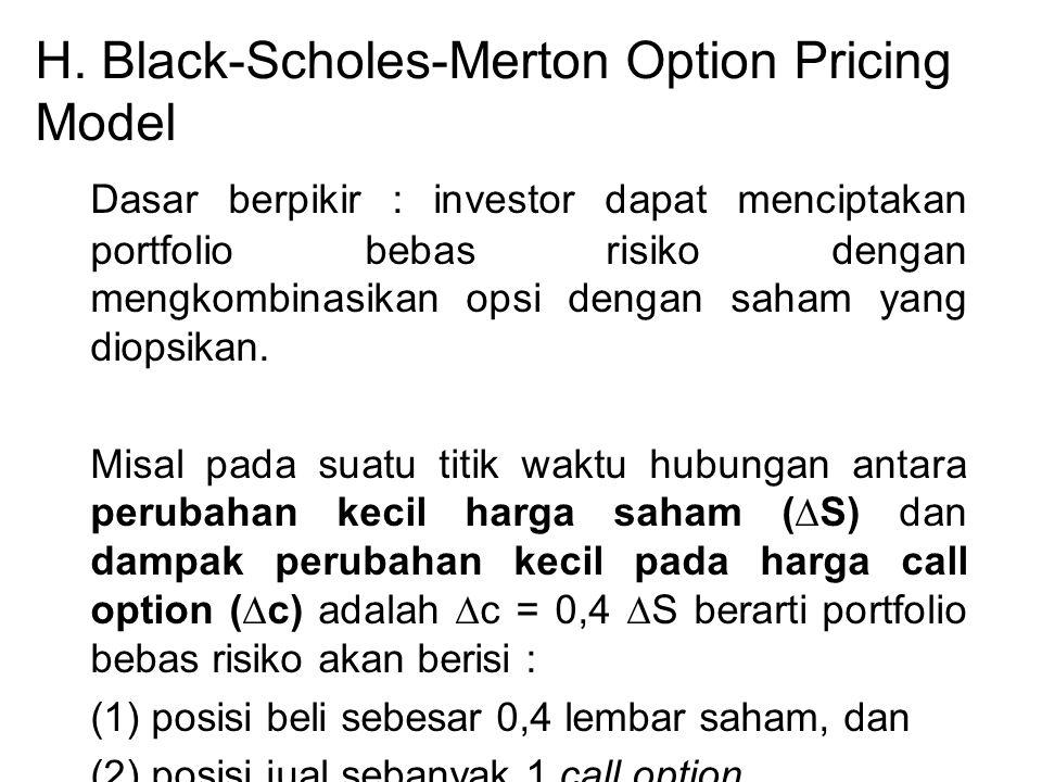 H. Black-Scholes-Merton Option Pricing Model Dasar berpikir : investor dapat menciptakan portfolio bebas risiko dengan mengkombinasikan opsi dengan sa