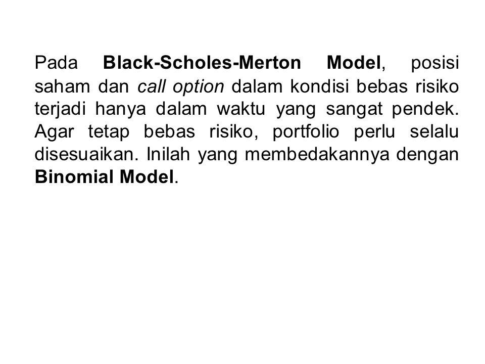 Pada Black-Scholes-Merton Model, posisi saham dan call option dalam kondisi bebas risiko terjadi hanya dalam waktu yang sangat pendek. Agar tetap beba