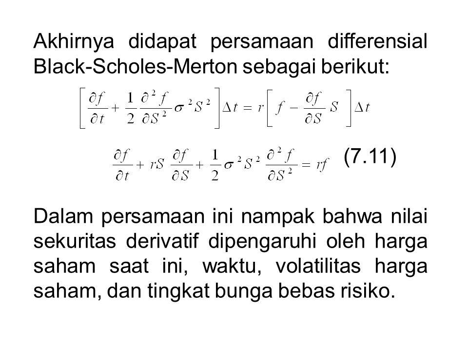Akhirnya didapat persamaan differensial Black-Scholes-Merton sebagai berikut: (7.11) Dalam persamaan ini nampak bahwa nilai sekuritas derivatif dipeng