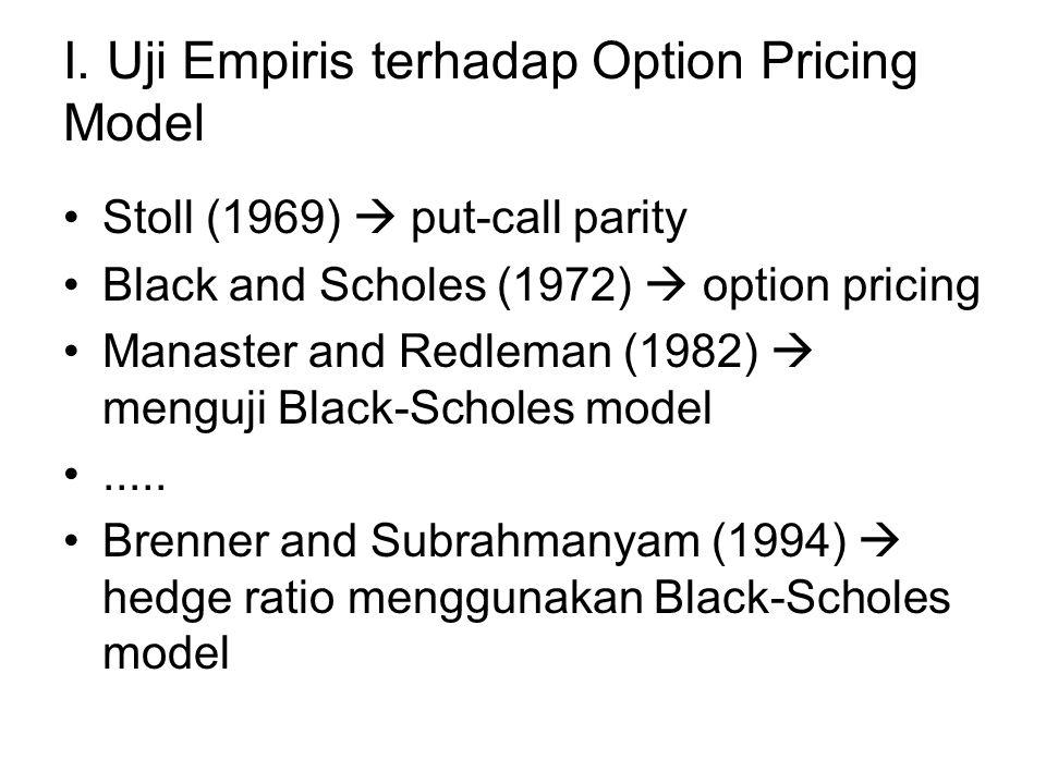 I. Uji Empiris terhadap Option Pricing Model Stoll (1969)  put-call parity Black and Scholes (1972)  option pricing Manaster and Redleman (1982)  m