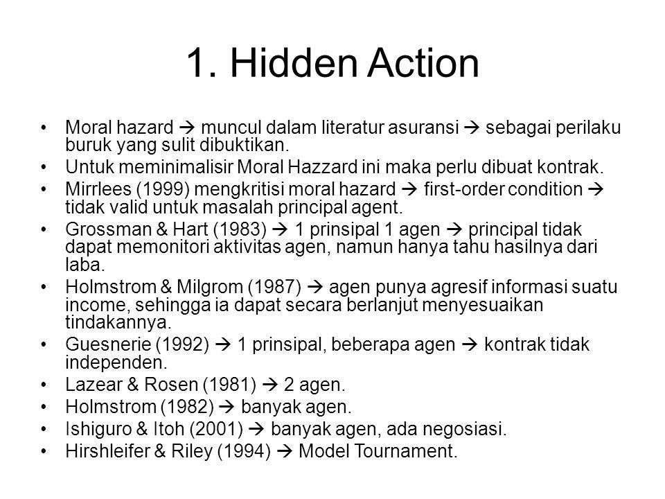 1. Hidden Action Moral hazard  muncul dalam literatur asuransi  sebagai perilaku buruk yang sulit dibuktikan. Untuk meminimalisir Moral Hazzard ini