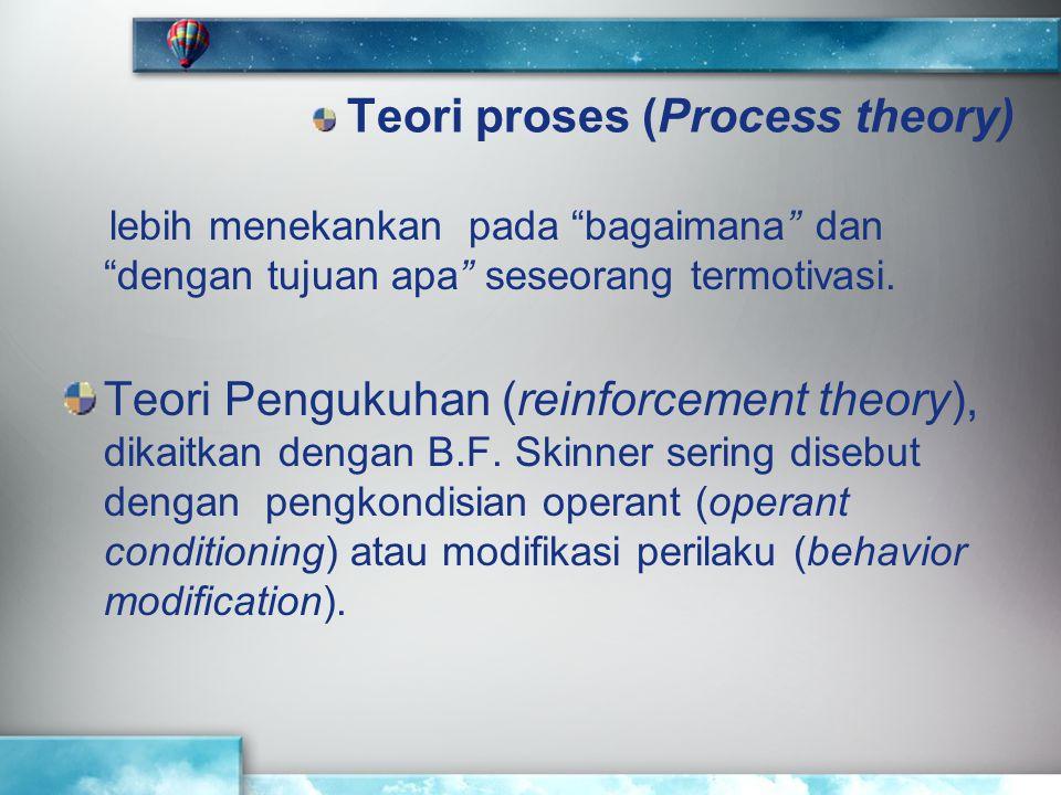 """Teori proses (Process theory) lebih menekankan pada """"bagaimana"""" dan """"dengan tujuan apa"""" seseorang termotivasi. Teori Pengukuhan (reinforcement theory)"""