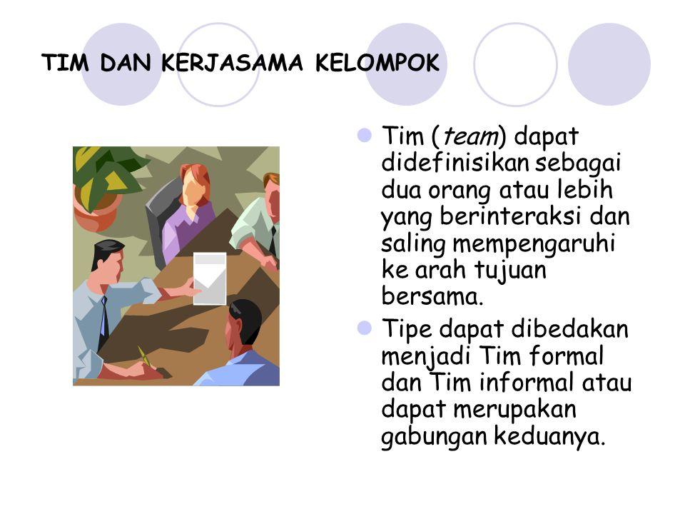 TIM DAN KERJASAMA KELOMPOK Tim (team) dapat didefinisikan sebagai dua orang atau lebih yang berinteraksi dan saling mempengaruhi ke arah tujuan bersam