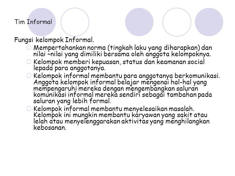 Tim Informal Fungsi kelompok Informal.  Mempertahankan norma (tingkah laku yang diharapkan) dan nilai –nilai yang dimiliki bersama oleh anggota kelom
