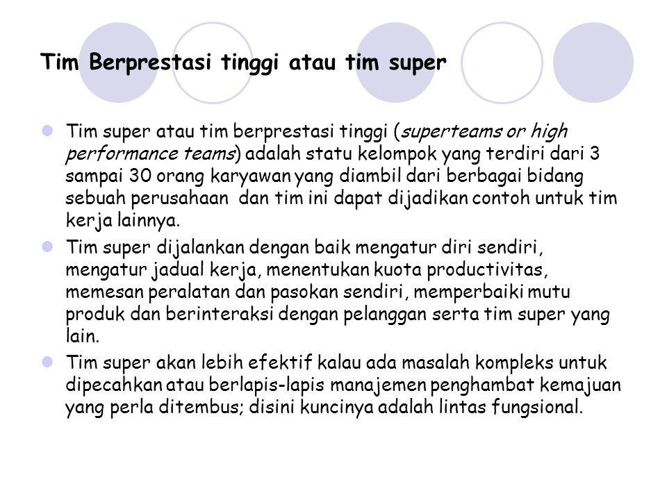 Tim Berprestasi tinggi atau tim super Tim super atau tim berprestasi tinggi (superteams or high performance teams) adalah statu kelompok yang terdiri