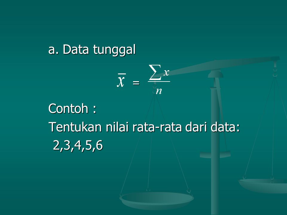 a.Data tunggal a.