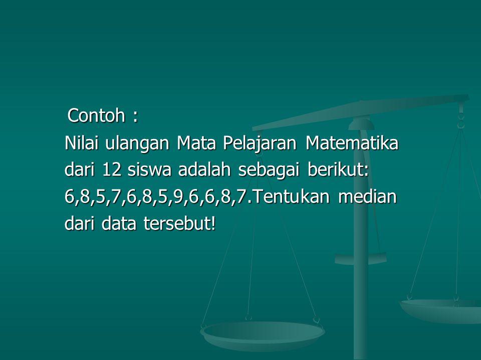 Contoh : Contoh : Nilai ulangan Mata Pelajaran Matematika Nilai ulangan Mata Pelajaran Matematika dari 12 siswa adalah sebagai berikut: dari 12 siswa adalah sebagai berikut: 6,8,5,7,6,8,5,9,6,6,8,7.Tentukan median 6,8,5,7,6,8,5,9,6,6,8,7.Tentukan median dari data tersebut.