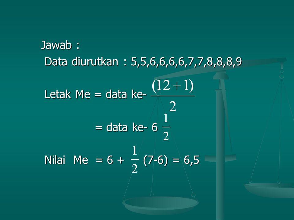 Jawab : Jawab : Data diurutkan : 5,5,6,6,6,6,7,7,8,8,8,9 Data diurutkan : 5,5,6,6,6,6,7,7,8,8,8,9 Letak Me = data ke- Letak Me = data ke- = data ke- 6 = data ke- 6 Nilai Me = 6 + (7-6) = 6,5 Nilai Me = 6 + (7-6) = 6,5