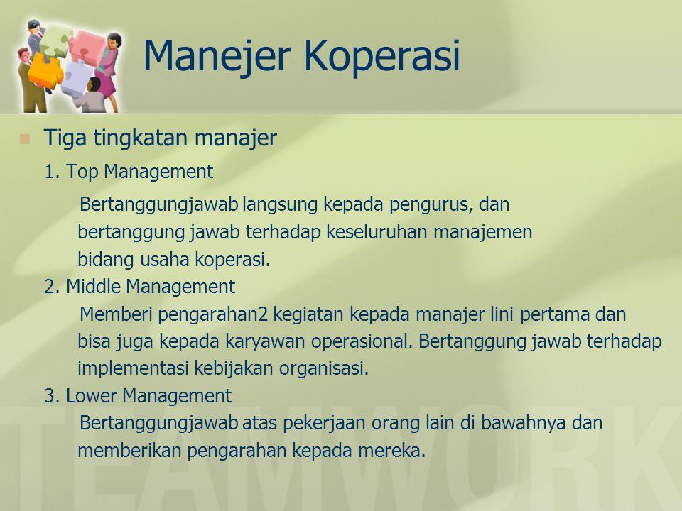 Manejer Koperasi Tiga tingkatan manajer 1.