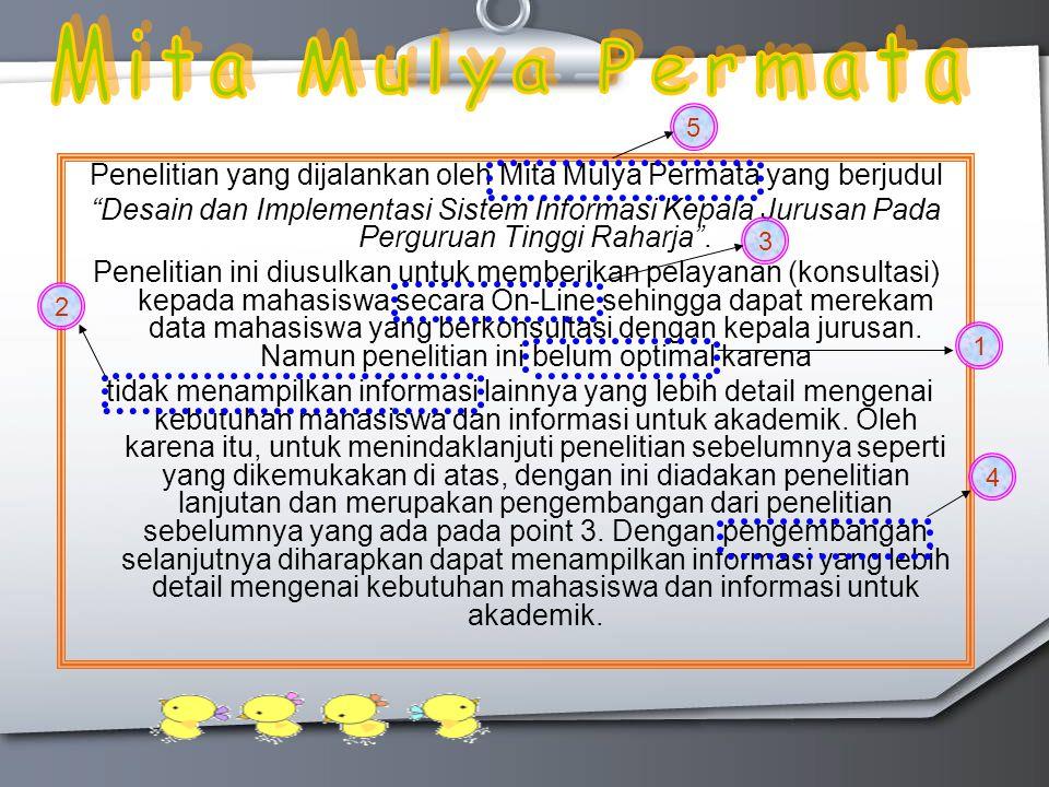 Penelitian yang dijalankan oleh Mita Mulya Permata yang berjudul Desain dan Implementasi Sistem Informasi Kepala Jurusan Pada Perguruan Tinggi Raharja .