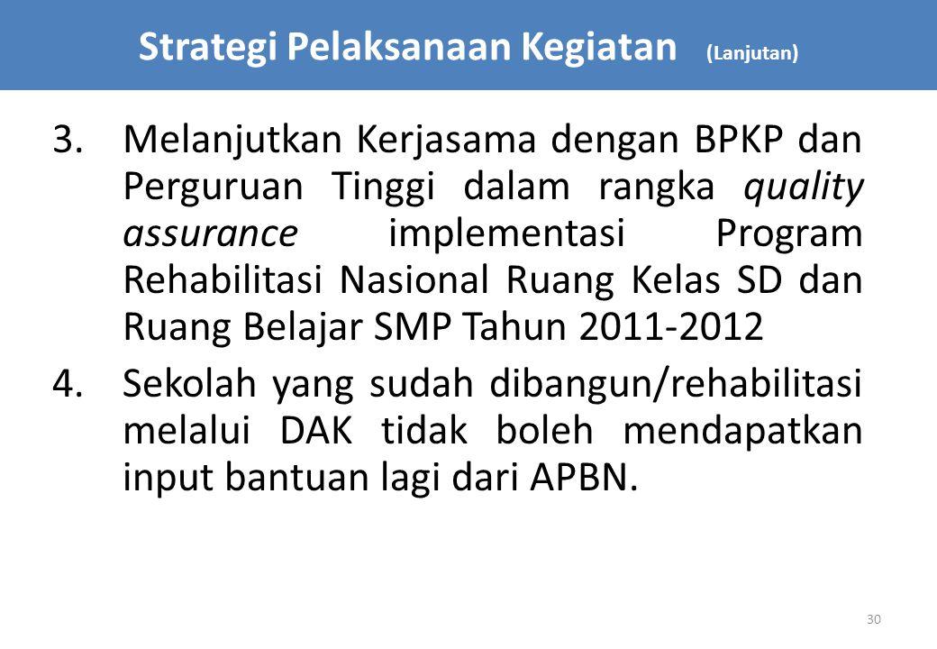 30 3.Melanjutkan Kerjasama dengan BPKP dan Perguruan Tinggi dalam rangka quality assurance implementasi Program Rehabilitasi Nasional Ruang Kelas SD d