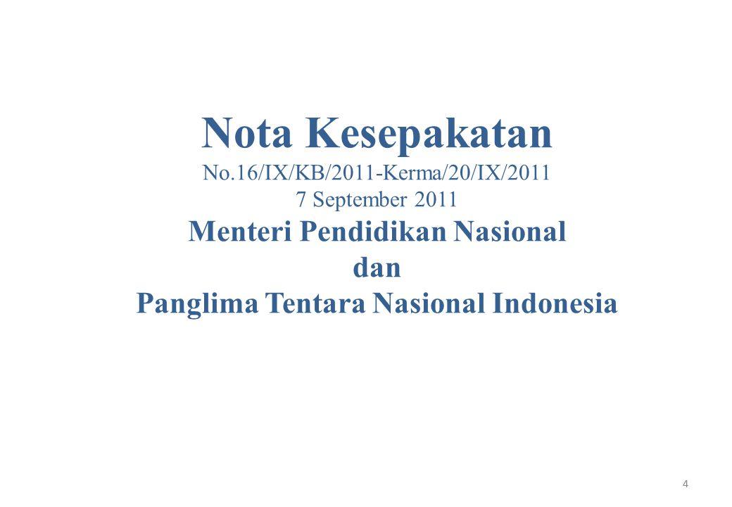 5 Tentang: Kerjasama dalam bidang perluasan layanan anak usia dini, non formal dan informal, pembinaan pendidikan dasar, menengah, tinggi, pendidikan layanan khusus, kebahasaan, penelitian dan pengembangan, serta pengembangan sumberdaya manusia pendidikan yang bersinergi dengan kegiatan optimalisasi peran Tentara Nasional Indonesia 5
