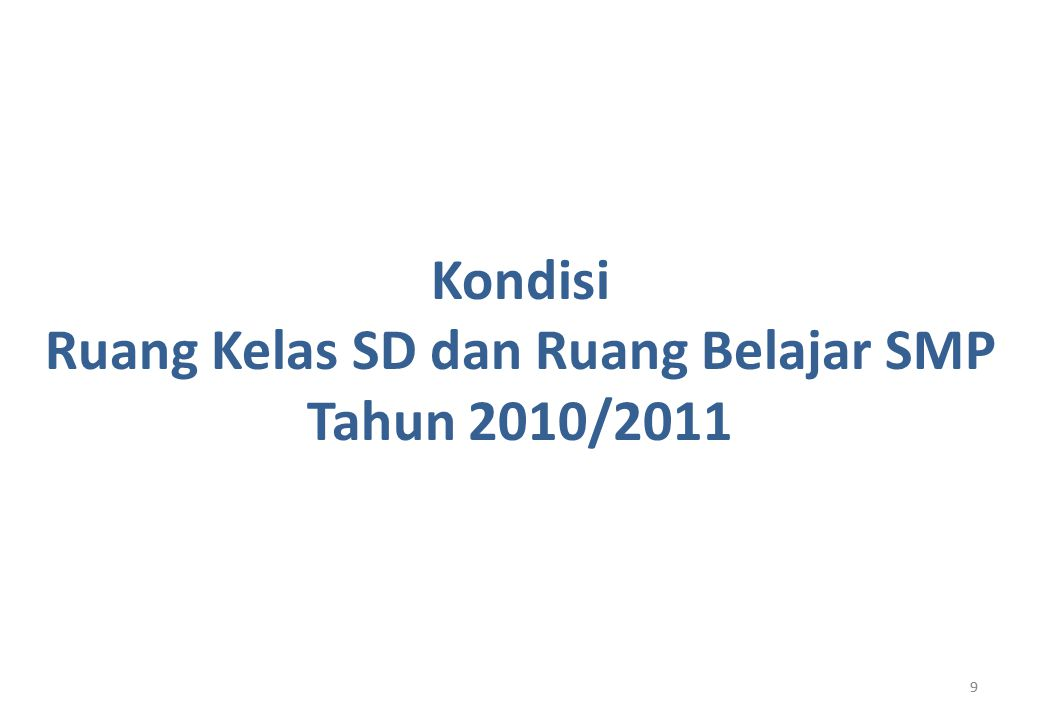 99 Kondisi Ruang Kelas SD dan Ruang Belajar SMP Tahun 2010/2011