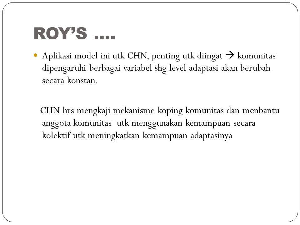 ROY'S …. Aplikasi model ini utk CHN, penting utk diingat  komunitas dipengaruhi berbagai variabel shg level adaptasi akan berubah secara konstan. CHN