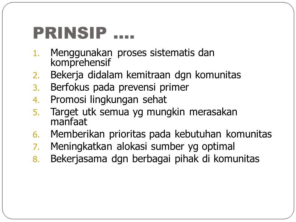 PRINSIP …. 1. Menggunakan proses sistematis dan komprehensif 2. Bekerja didalam kemitraan dgn komunitas 3. Berfokus pada prevensi primer 4. Promosi li