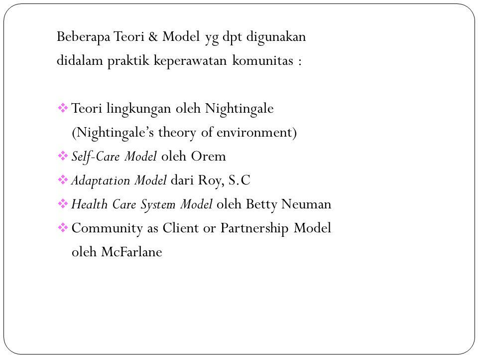 Beberapa Teori & Model yg dpt digunakan didalam praktik keperawatan komunitas :  Teori lingkungan oleh Nightingale (Nightingale's theory of environme