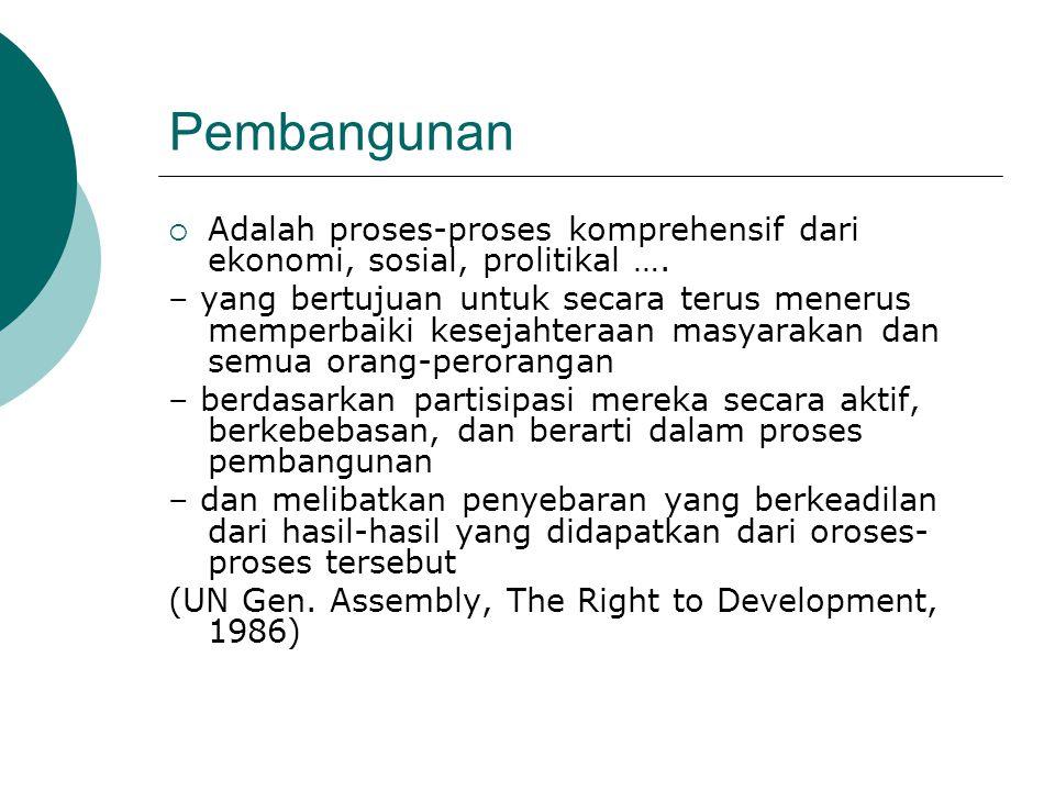Pembangunan  Adalah proses-proses komprehensif dari ekonomi, sosial, prolitikal ….