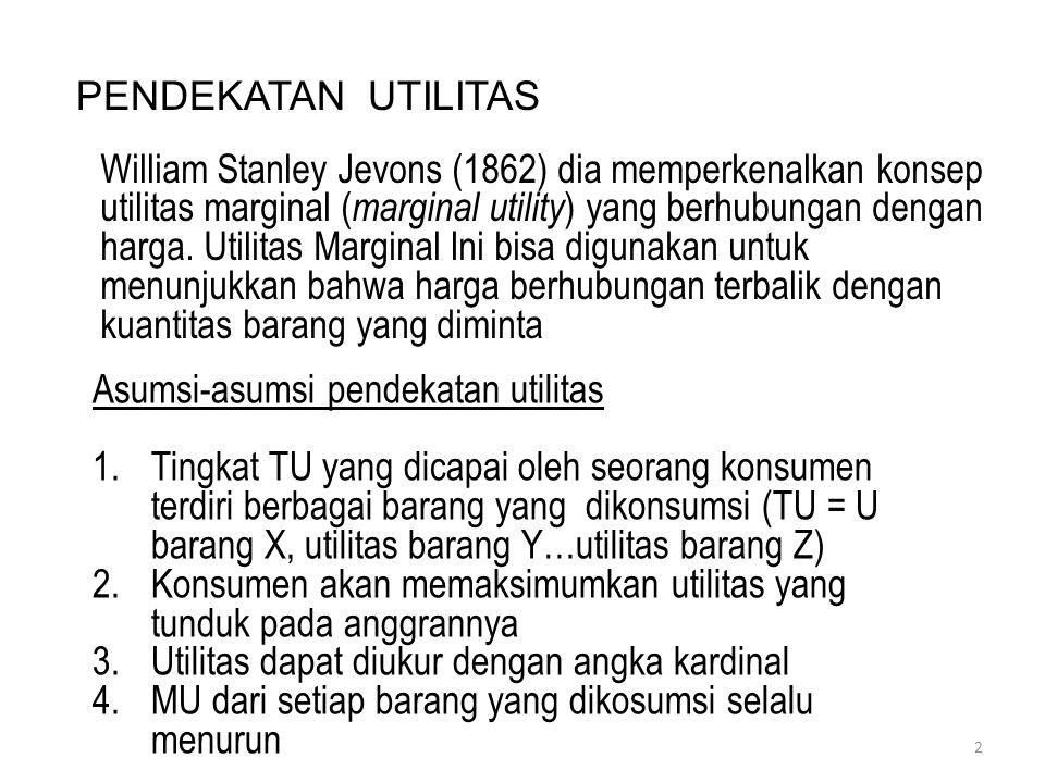 PENDEKATAN UTILITAS William Stanley Jevons (1862) dia memperkenalkan konsep utilitas marginal ( marginal utility ) yang berhubungan dengan harga. Util
