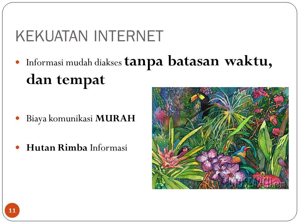 KEKUATAN INTERNET 11 Informasi mudah diakses tanpa batasan waktu, dan tempat Biaya komunikasi MURAH Hutan Rimba Informasi