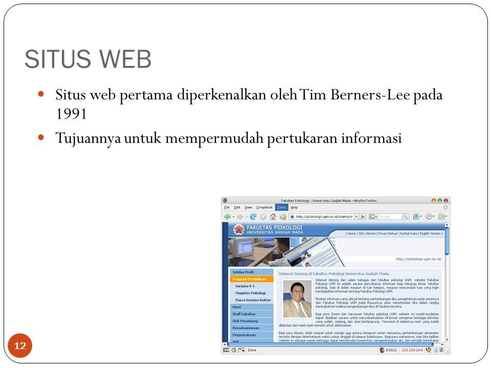 SITUS WEB 12 Situs web pertama diperkenalkan oleh Tim Berners-Lee pada 1991 Tujuannya untuk mempermudah pertukaran informasi