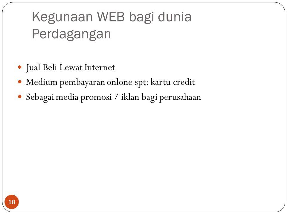 Kegunaan WEB bagi dunia Perdagangan 18 Jual Beli Lewat Internet Medium pembayaran onlone spt: kartu credit Sebagai media promosi / iklan bagi perusahaan
