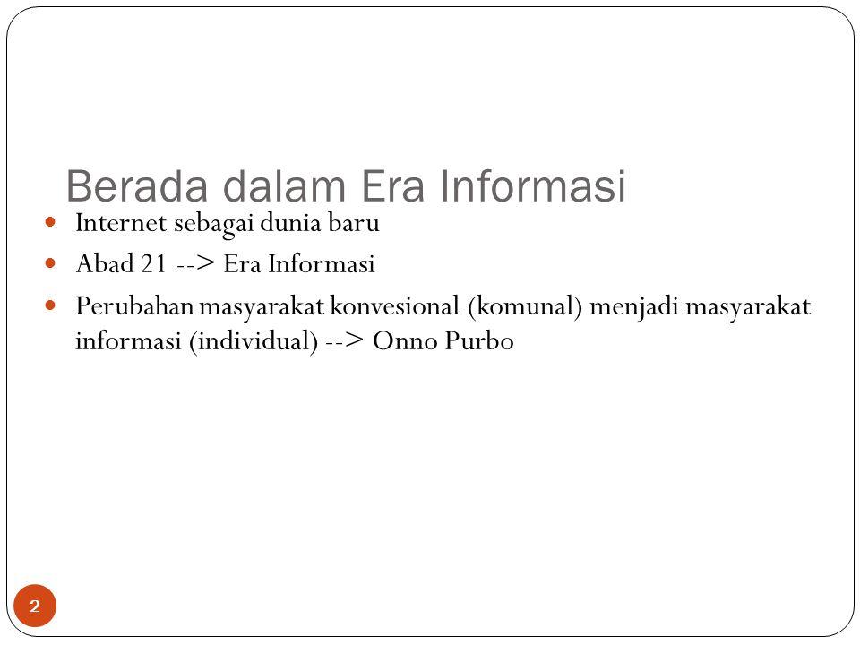 Berada dalam Era Informasi 2 Internet sebagai dunia baru Abad 21 --> Era Informasi Perubahan masyarakat konvesional (komunal) menjadi masyarakat informasi (individual) --> Onno Purbo