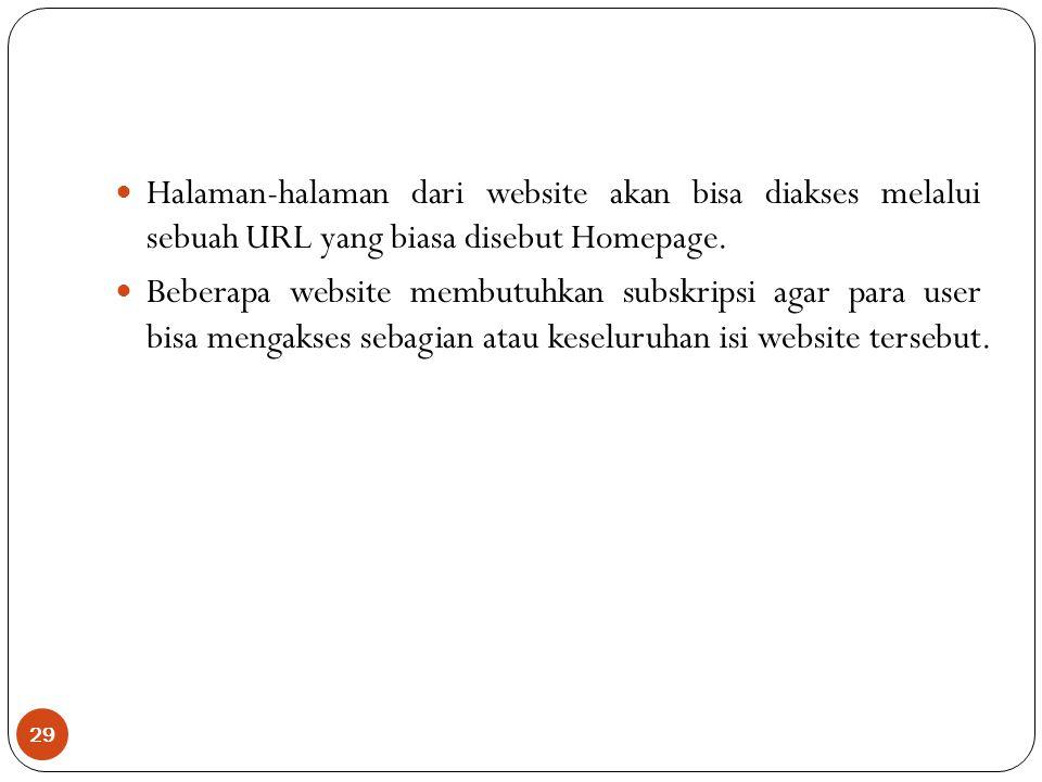 29 Halaman-halaman dari website akan bisa diakses melalui sebuah URL yang biasa disebut Homepage.