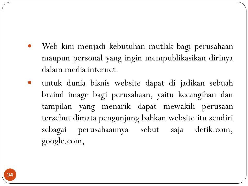 34 Web kini menjadi kebutuhan mutlak bagi perusahaan maupun personal yang ingin mempublikasikan dirinya dalam media internet.