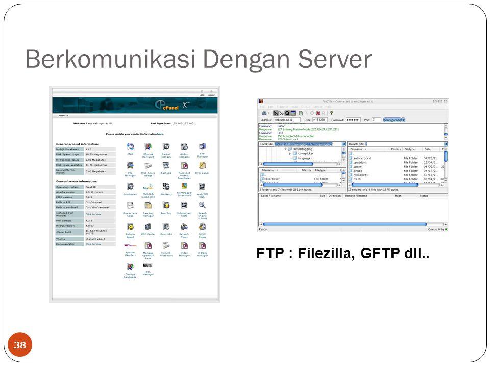 Berkomunikasi Dengan Server 38 Web Base : Control Panel http://psikologi.ugm.ac.id/cpanel FTP : Filezilla, GFTP dll..