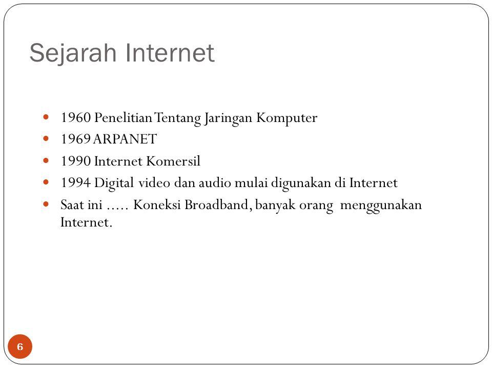 Sejarah Internet 6 1960 Penelitian Tentang Jaringan Komputer 1969 ARPANET 1990 Internet Komersil 1994 Digital video dan audio mulai digunakan di Internet Saat ini.....