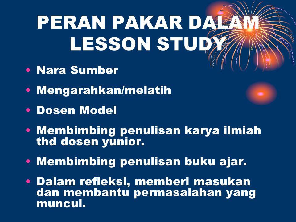 PERAN PAKAR DALAM LESSON STUDY Nara Sumber Mengarahkan/melatih Dosen Model Membimbing penulisan karya ilmiah thd dosen yunior.