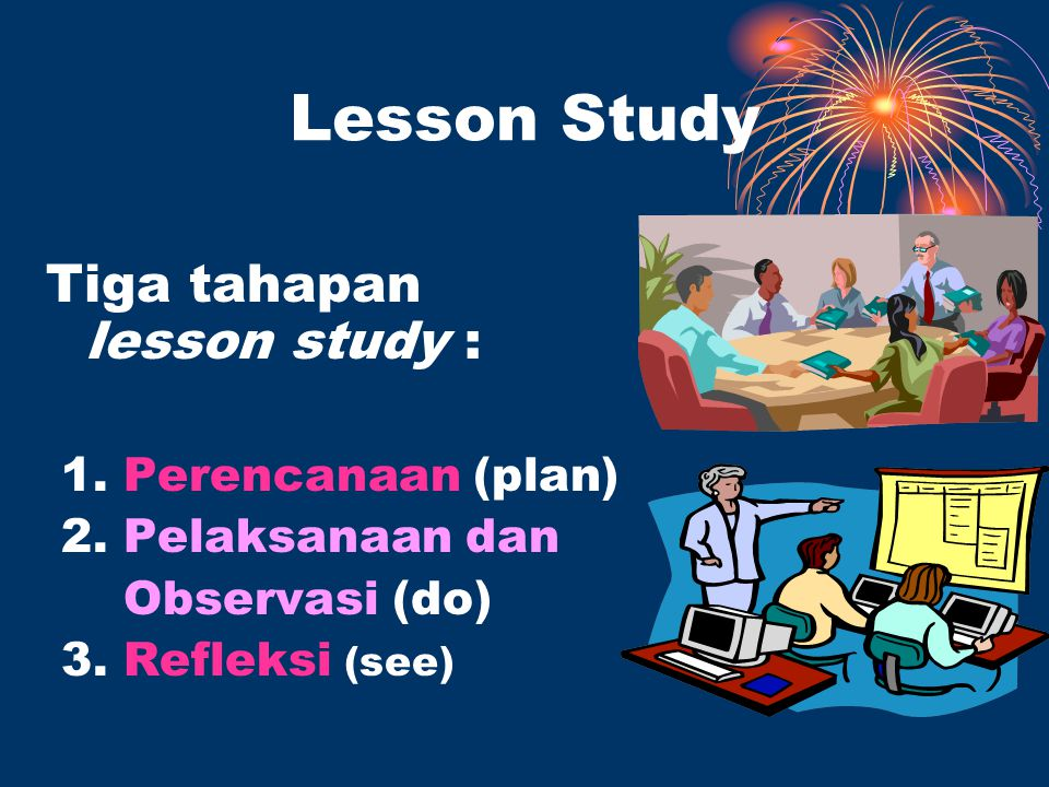 Lesson Study Tiga tahapan lesson study : 1. Perencanaan (plan) 2.