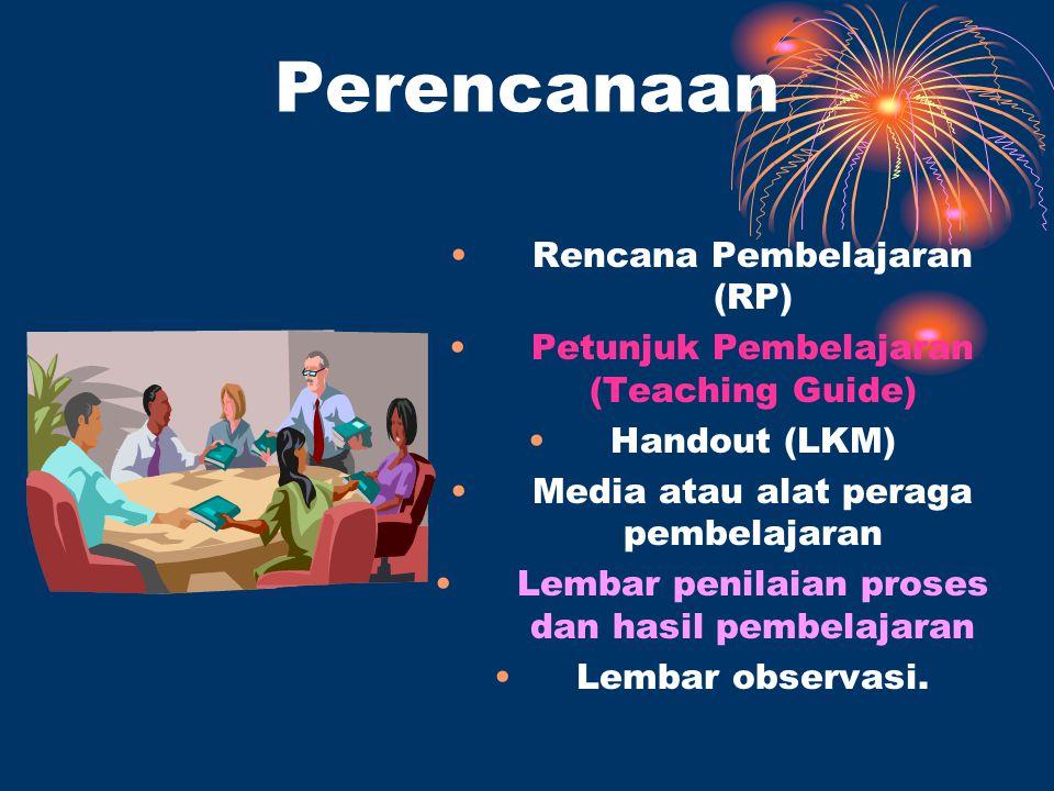 Perencanaan Rencana Pembelajaran (RP) Petunjuk Pembelajaran (Teaching Guide) Handout (LKM) Media atau alat peraga pembelajaran Lembar penilaian proses dan hasil pembelajaran Lembar observasi.
