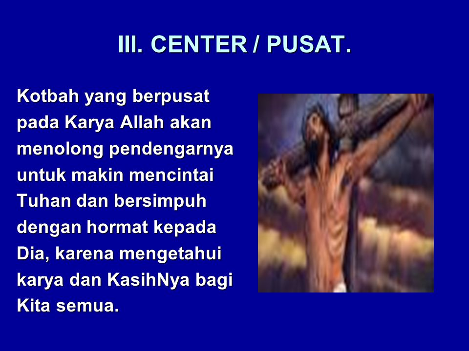 III. CENTER / PUSAT.