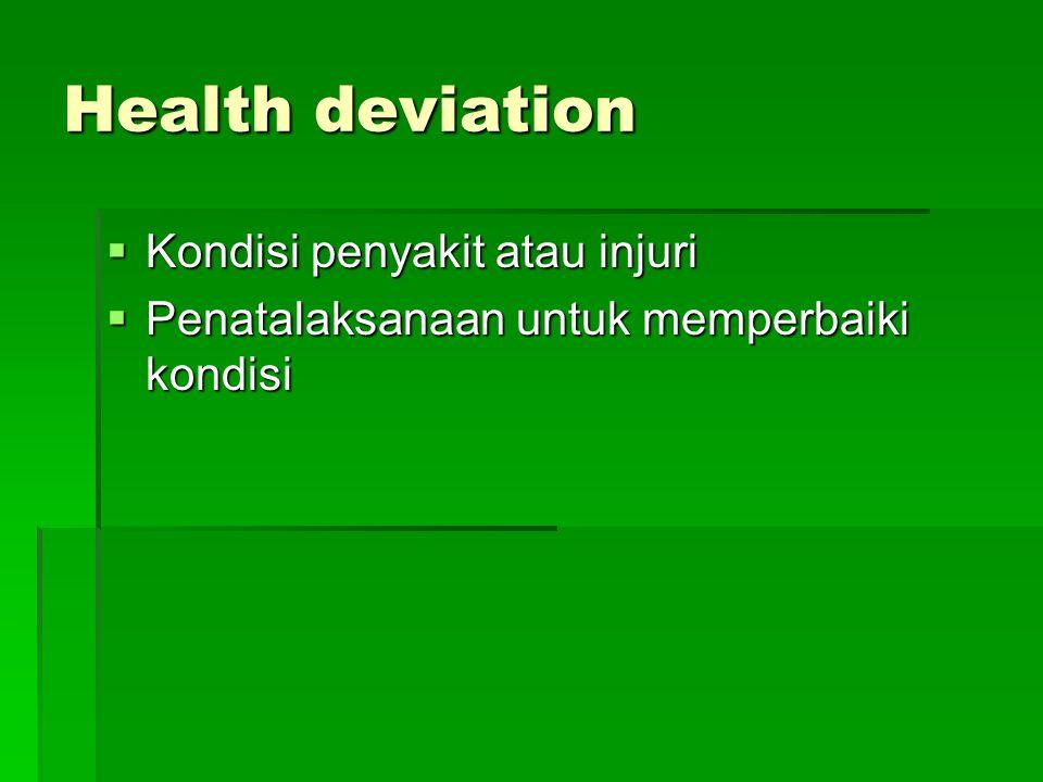 Health deviation  Kondisi penyakit atau injuri  Penatalaksanaan untuk memperbaiki kondisi