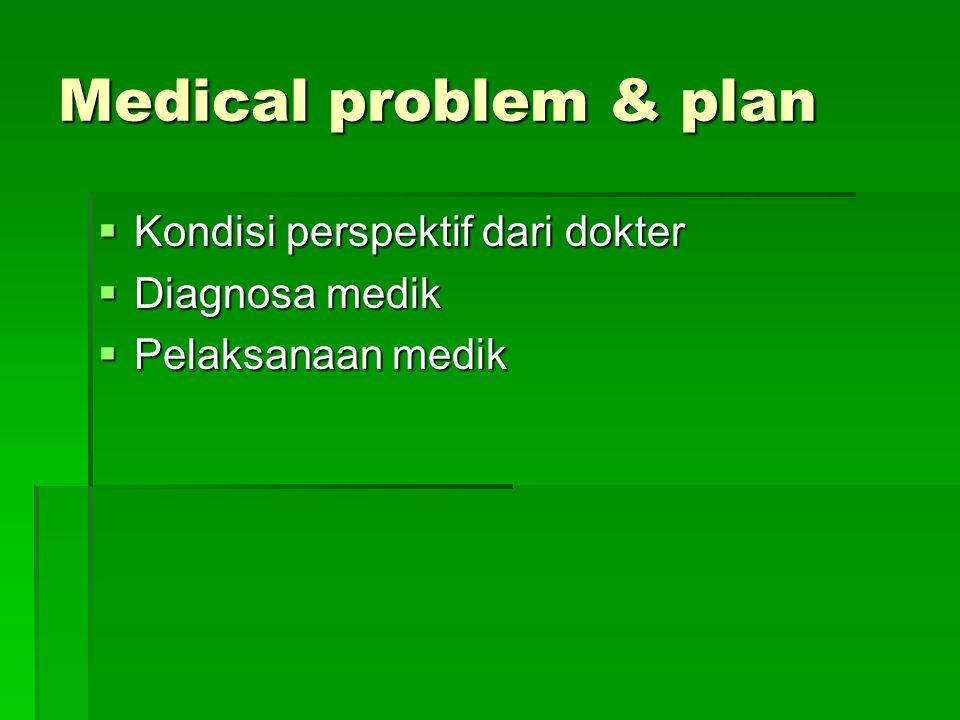 Medical problem & plan  Kondisi perspektif dari dokter  Diagnosa medik  Pelaksanaan medik