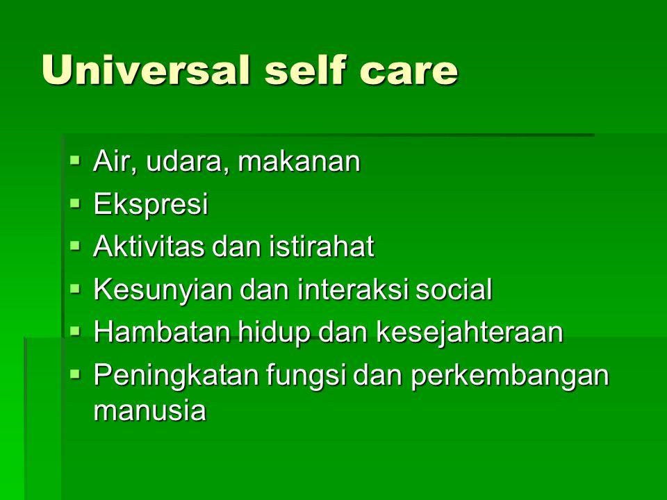 Universal self care  Air, udara, makanan  Ekspresi  Aktivitas dan istirahat  Kesunyian dan interaksi social  Hambatan hidup dan kesejahteraan  P