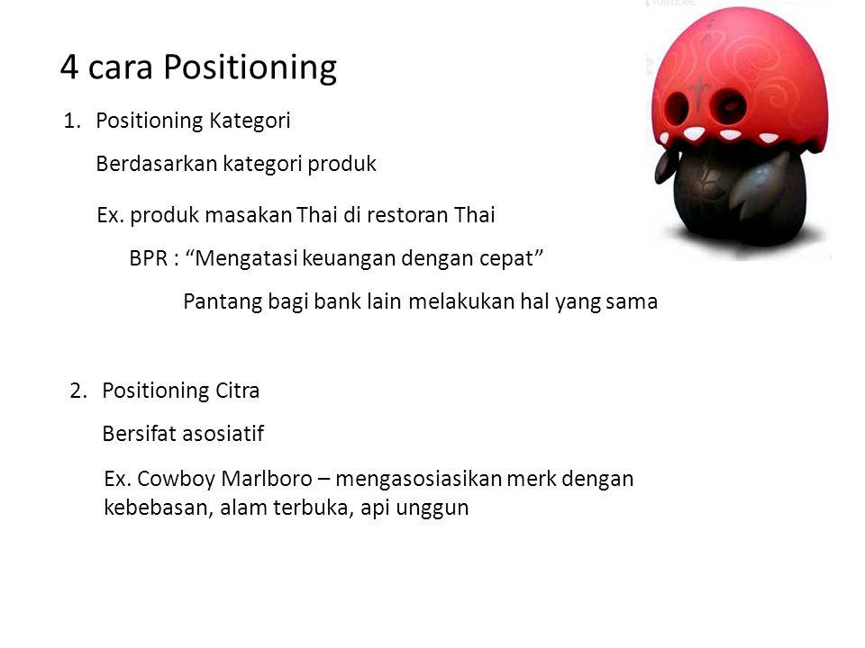"""4 cara Positioning 1.Positioning Kategori Berdasarkan kategori produk Ex. produk masakan Thai di restoran Thai BPR : """"Mengatasi keuangan dengan cepat"""""""
