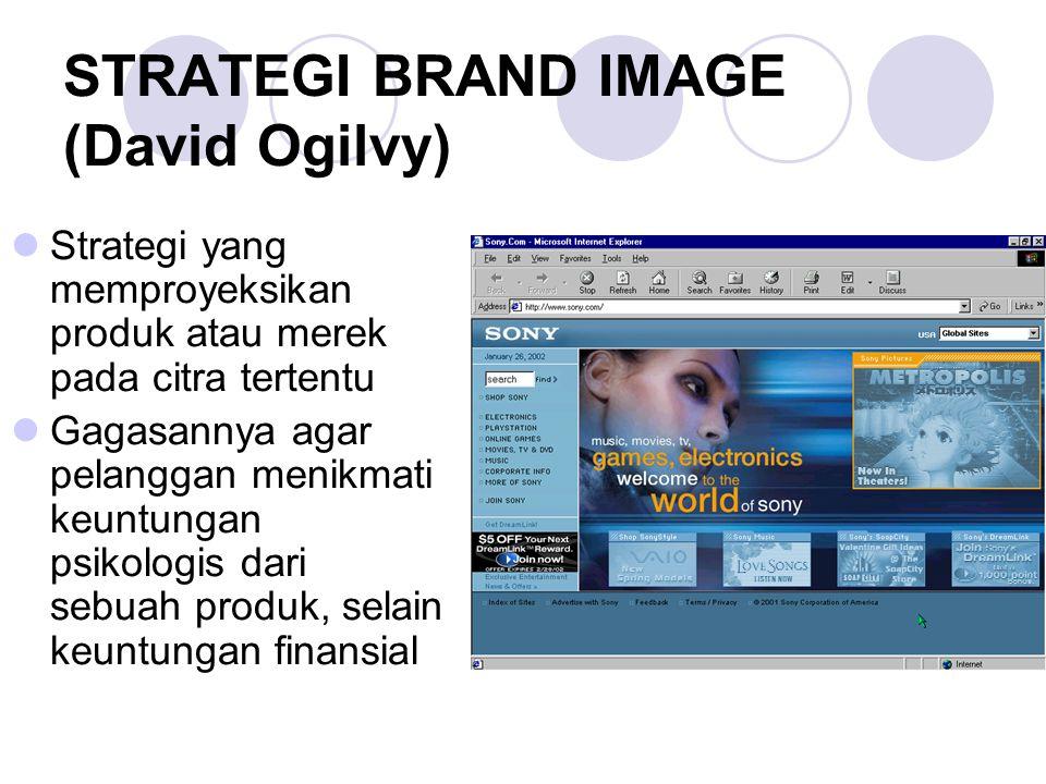 STRATEGI BRAND IMAGE (David Ogilvy) Strategi yang memproyeksikan produk atau merek pada citra tertentu Gagasannya agar pelanggan menikmati keuntungan