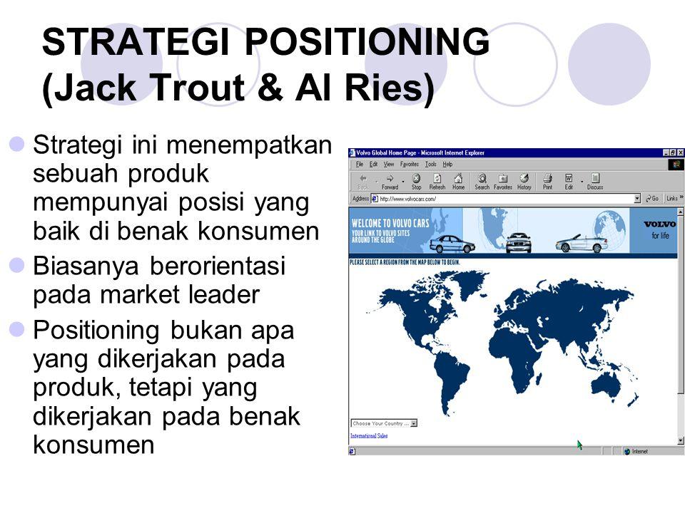 STRATEGI POSITIONING (Jack Trout & Al Ries) Strategi ini menempatkan sebuah produk mempunyai posisi yang baik di benak konsumen Biasanya berorientasi