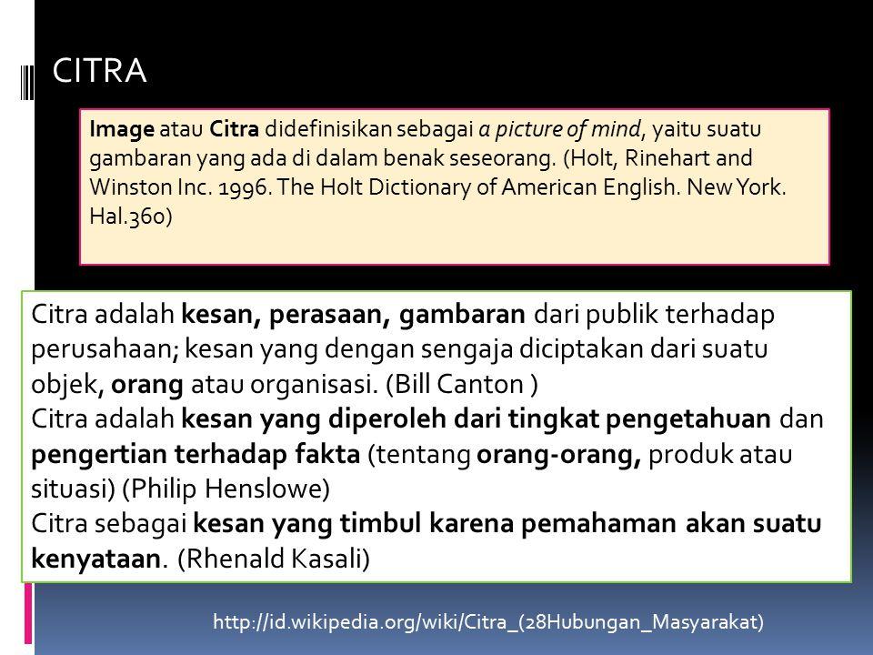 CITRA Image atau Citra didefinisikan sebagai a picture of mind, yaitu suatu gambaran yang ada di dalam benak seseorang.