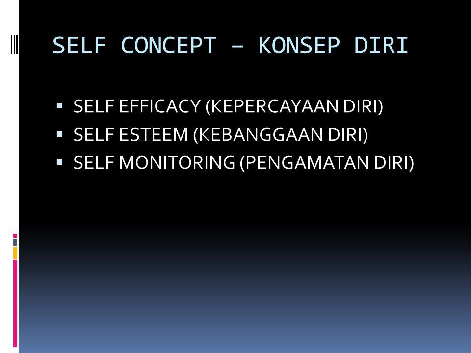 SELF CONCEPT – KONSEP DIRI  SELF EFFICACY (KEPERCAYAAN DIRI)  SELF ESTEEM (KEBANGGAAN DIRI)  SELF MONITORING (PENGAMATAN DIRI)