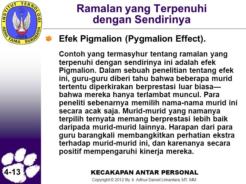 KECAKAPAN ANTAR PERSONAL Copyright © 2012 By. Ir. Arthur Daniel Limantara, MT, MM. 4-13 Ramalan yang Terpenuhi dengan Sendirinya Efek Pigmalion (Pygma