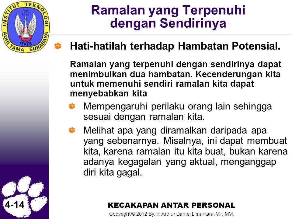 KECAKAPAN ANTAR PERSONAL Copyright © 2012 By. Ir. Arthur Daniel Limantara, MT, MM. 4-14 Ramalan yang Terpenuhi dengan Sendirinya Hati-hatilah terhadap