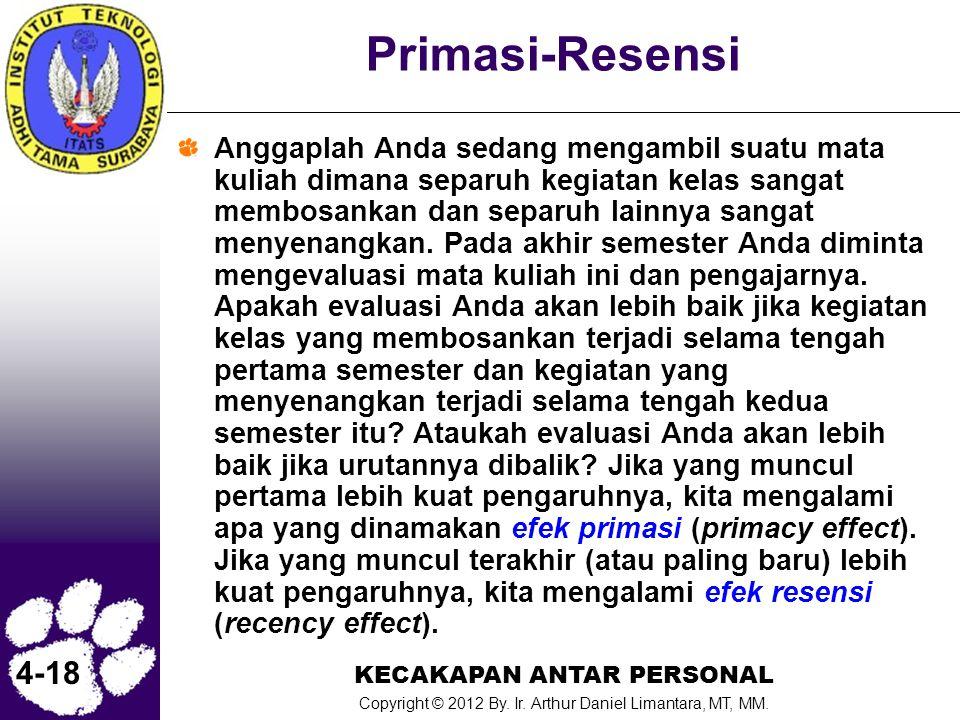 KECAKAPAN ANTAR PERSONAL Copyright © 2012 By. Ir. Arthur Daniel Limantara, MT, MM. 4-18 Primasi-Resensi Anggaplah Anda sedang mengambil suatu mata kul