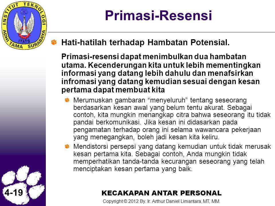 KECAKAPAN ANTAR PERSONAL Copyright © 2012 By. Ir. Arthur Daniel Limantara, MT, MM. 4-19 Primasi-Resensi Hati-hatilah terhadap Hambatan Potensial. Prim