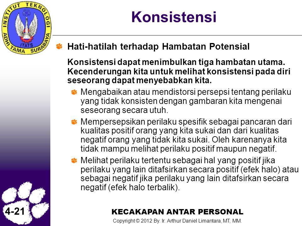 KECAKAPAN ANTAR PERSONAL Copyright © 2012 By. Ir. Arthur Daniel Limantara, MT, MM. 4-21 Konsistensi Hati-hatilah terhadap Hambatan Potensial Konsisten